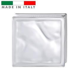Vetromattone Vetrocemento Mattone In Vetro Ondulato Satinato Bianco Pure 19 X 19 X 8 Cm