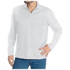 Polo Manica Lunga In Cotone Piquet Colore Bianco Taglia 2xl