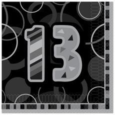 Black Glitz Tovaglioli Di Carta Con Numero 13 Pacco Da 16 (taglia Unica) (nero)