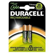 Blister 2 Pile Ricaricabili AAA Duracell 750 mAh