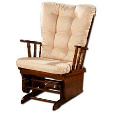 Poltrona riposo relax dondolo oscillante in legno massello di design