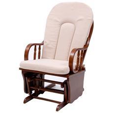 Poltrona Relax dondolo oscillante in legno massello per interno di design