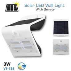 Lampada Da Muro Applique Led Ip65 Esterno Ricaricabile Pannello Solare 3w Vt-768 7523