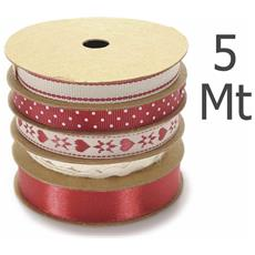 "Nastri In Rotolo Multiplo """"country Living"""" Mm 6-10-15 X 5 Mt"