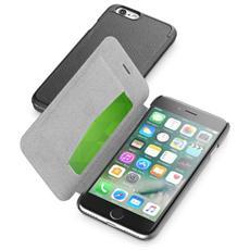 Cellularline Book Essetial - iPhone 7 Pratica custodia a libro con finitura effetto pelle Nero