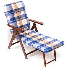 Poltrona da relax con struttura in legno di faggio colore blu