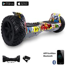 8.5 Pollici Bluetooth+app Suv Hoverboard Monopattino Elettrico Scooter Smart Balance Allroad Skateboard Army Silveer