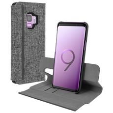 Esquire Custodia Galaxy S9 Plus Tessuto Chiné Portacarte Supporto Grigia