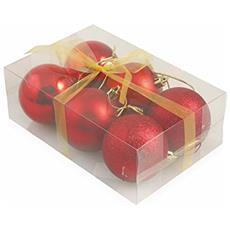 2411397 Palle Di Natale, Rosso, Plastica, 6x6x0.1 Cm