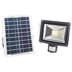 Faretti Led 20w Faro Proiettore Nero Esterno Ip65 Con Pannello Solare E Sensore Di Movimento Ex-00039
