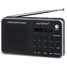 Portable digital AM / FM radio silver, 3,5 mm, Portatile, LED, Analogico, AM, FM, PLL, Batteria