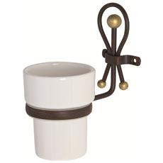 Portaspazzolino in ceramica e ferro battuto lavorazione artigianale