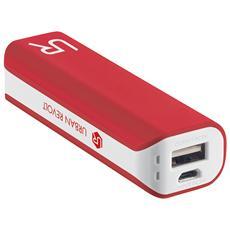 Powerbank Caricabatterie portatile 2.200 mAh con cavo Micro USB - Rosso