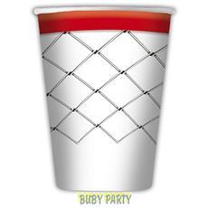 8 Bicchieri In Carta Tema Basket 200cc