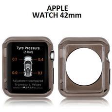 Custodia Gel Tpu Silicone Per Apple Watch 42mm Colore Nero Trasparente