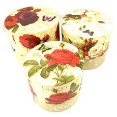 set di 3 cassette nido 'jardin botanique' rosso beige - [ k5075]