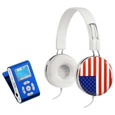 """Micro SD (fino 8GB) , display OLED 1.1"""", MP3 / WMA, FM (20 preselezioni memorizzabili) , registrazione vocale tramite microfono integrato, USB 2.0, 3.5mm jack, Cuffie - 32 Ohms, 110 dB, 40mW, RMS - 25mW, 1.8m, 20 - 20KHz"""