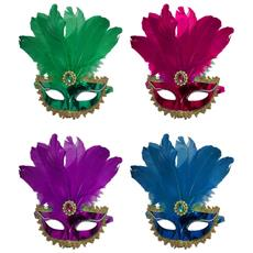 Set 2 Pezzi Maschera Mascherina Veneziana Con Piume Carnevale Travestimento Sfumature Colori Casuali