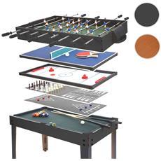 Calcetto Biliardino Hockey Pingpong Multiplayer 7 Giochi In 1 82x107x60cm