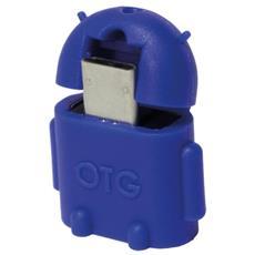 IDATA UOTG-U2-BL - Adattatore USB 2.0 OTG MicroB M / A F per Smartphone / Tablet Blu