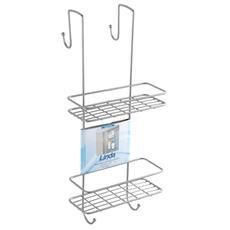 Mensola rettangolare 2 ripiani con ganci doccia antipolvere e antiruggine