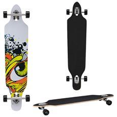 Longboard Della Ditta (104 X 23 X 9,5 Cm) - Cuscinetti A Sfera Abec 7 - Skateboard / Drop Through / Tavola Da Freeride / Tavola Da Cruising / Tavola Vintage / Colore: Grigio - Nero - Giallo