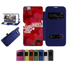 Flip Cover Blu Stelle Crhistmas Per Huawei G Play Mini Blu - Custodia Protettiva Richiudibile