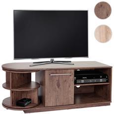 Mobile Porta Tv Tavolino Salotto Arau T729 Scomparto Girevole Mdf 40x120x45cm Legno Scuro