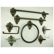 WC24. Set da bagno ottone brunito accessori da 7 pezzi