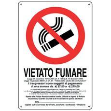 Cartello in alluminio Pubblicentro - vietato fumare con legge - P0024720ALB0300X0200
