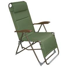 Sedia sdraio per spiaggia tessuto verde in Pvc reclinabile Cm 52x52x46/110