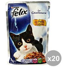Set 20 Le Ghiottonerie Pollo 100 Gr. Bustina Cibo Per Gatti