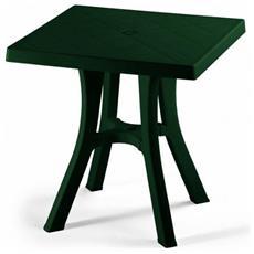 Tavolo Daddy Verde Cm 70x70 - 100% Resina Di Prima Qualita' - Riciclabile 100% - Dotato Di 4 Piedini Regolatori - Smontabile - Dimensione: Cm 70x70 X H. 73 - 964