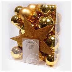 Sfere di Natale Assortite Piu Puntale Colore Oro