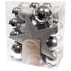 Sfere di Natale Assortite Piu Puntale Colore Argento