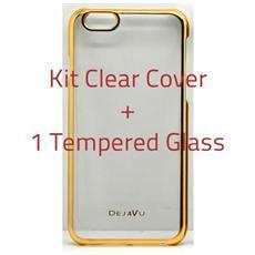 Cover Clear Compatibile Samsung S6 Bordo Oro + Temp. Glass