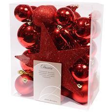 Sfere di Natale Assortite Piu Puntale Colore Rosso