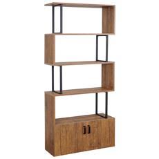 Libreria Scaffale Hwc-a27 Effetto 3d Mdf 4 Ripiani +sportello Color Rovere Scuro
