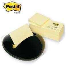 dispenser stone nero+12 ricariche 100fg post-it®z-notes 76x76mm giallo canary