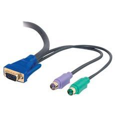 Cavo KVM C2G Ultima 81734 - 1 Pacco - HD-15 Maschio VGA, Mini-DIN (PS / 2) Maschio Tastiera / Mouse - HD-15 Maschio VGA, Mini-DIN (PS / 2) Maschio Tastiera / Mouse - Nero