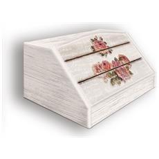 Portapane Con Decoro In 'rose Shabby' In Legno Shabby Dalle Dimensioni Di 30x40x20 Cm