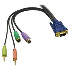 Cavo KVM C2G Ultima 81733 - 1 Pacco - HD-15 Maschio VGA, Mini-DIN (PS / 2) Maschio Tastiera / Mouse, Mini-phone Maschio Audio - HD-15 Maschio VGA, Mini-DIN (PS / 2) Maschio Tastiera / Mouse, Mini-phone Maschio Audio - Nero