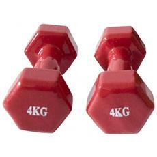 Dumbbells Pesetti Palestra Rosso Body Building Potenziamento Muscoli Casa 2 X 4kg