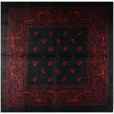 Sciarpa motivo Paisley 100% cotone nero / rosso