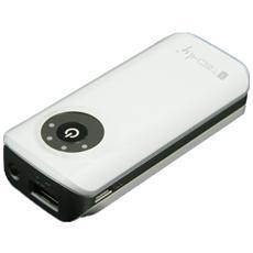 Batteria Supplementare Universale Usb 5200 mAh con indicatore di carica e torcia led - Bianco