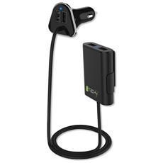 IUSB2-CAR4TY - Caricatore da Auto 2 USB + 2 USB per Passeggeri Posteriori 9.6A Nero