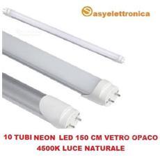 Set Da 10 Tubi Neon Led Smd Da 150 Cm Vetro Opaco Con Attacco T8 Da 26 Watt Luce Naturale 4500k Alta Luminosità