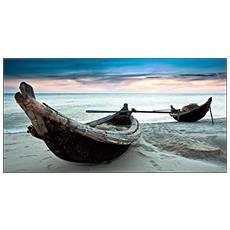 Quadro Su Tela In Stampa Di Alta Qualità Montata Su Telaio In Legno Canvas Deep 77x143 Canoe