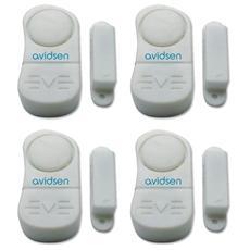 4 mini allarmi autonomi per porte e finestre con contatti magnetici