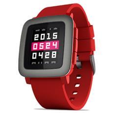 Smartwatch Time Impermeabile con Cassa acciaio gunmetal e cinturino in Silicone Rosso Bluetooth per Android e iOS